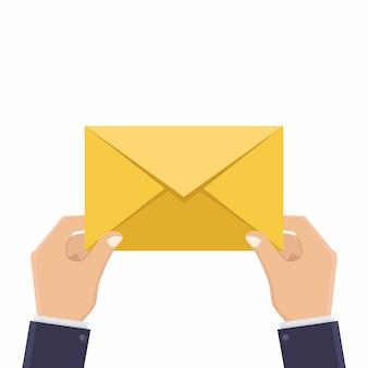 Handen en letters, brieven ontvangen, illustratie platte ontwerpstijl