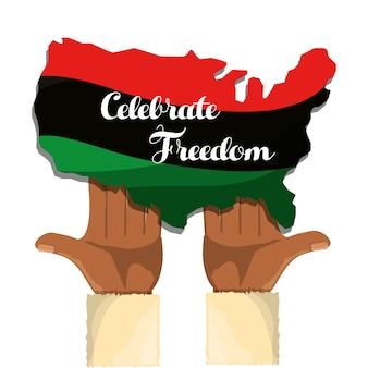 Handen en vlag met vermelding van vrijheid vieren