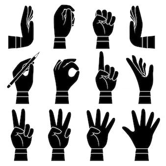 Handen gebaar collectie set. mannelijke en vrouwelijke armenpalmen en vingers wijzen die het nemen van aanraking houden die vectorbeeldverhaalsilhouet houden