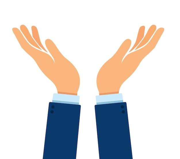 Handen gebaar pictogram ondersteuning vrede en zorg