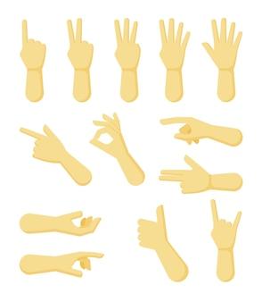 Handen gebaren wijzen en collectie tonen
