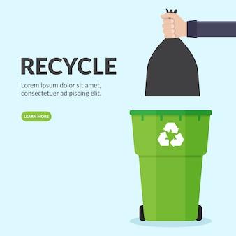 Handen gooien plastic vuilniszakken in vuilnisbakken