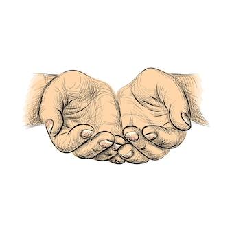 Handen handpalmen tegen elkaar, schets bedelende handen. illustratie