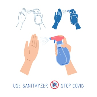 Handen houden antibacteriële, antivirale sproeiset vast