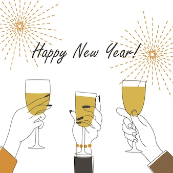 Handen houden champagne vast