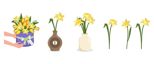 Handen houden een ronde doos met bloemen boeket van narcissen