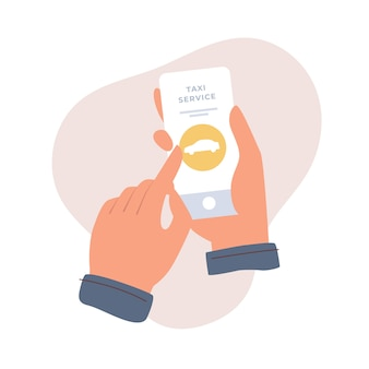 Handen houden een smartphone vast en kiezen een auto in een mobiele applicatie. taxi-oproepservice. online auto bestelservice. vlakke afbeelding op lichte geïsoleerde achtergrond.