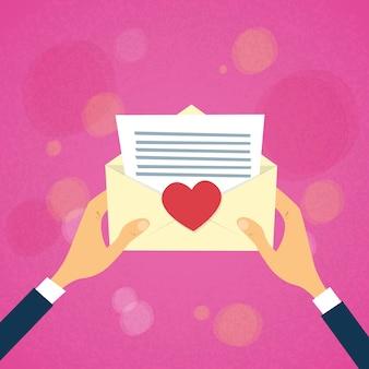 Handen houden envelop rood hart mail brief