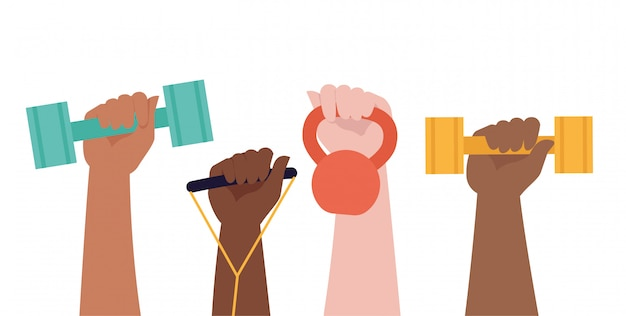 Handen houden halters op witte achtergrond en gezonde levensstijl titel.