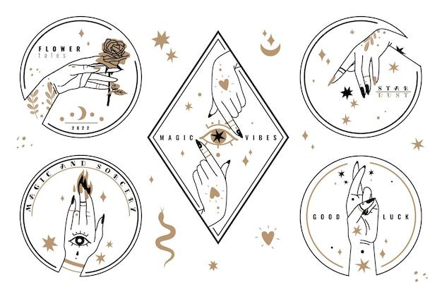 Handen houden items vast. vrouwelijke mystieke symbolen, magische sterren boheems ontwerp, astrologische vintage vormen, mooie roos, oog. vectoretiketten