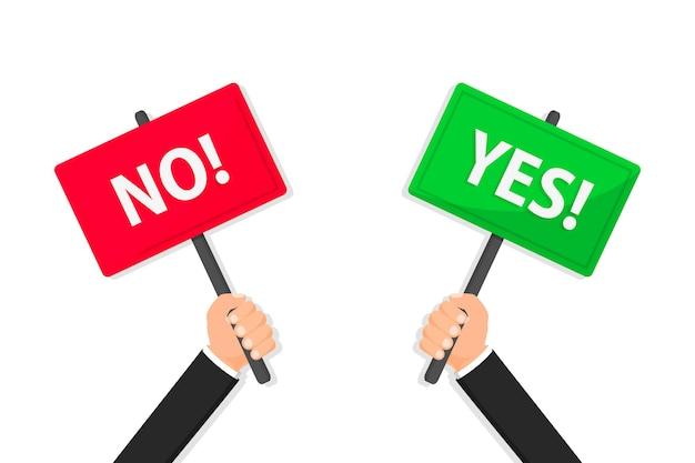 Handen houden ja en nee banner ja en nee plakkaat waar of fout positief en negatief teken