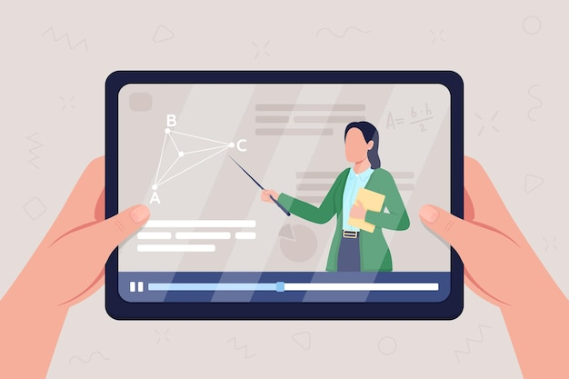 Handen houden tablet met video op meetkunde klasse egale kleur illustratie
