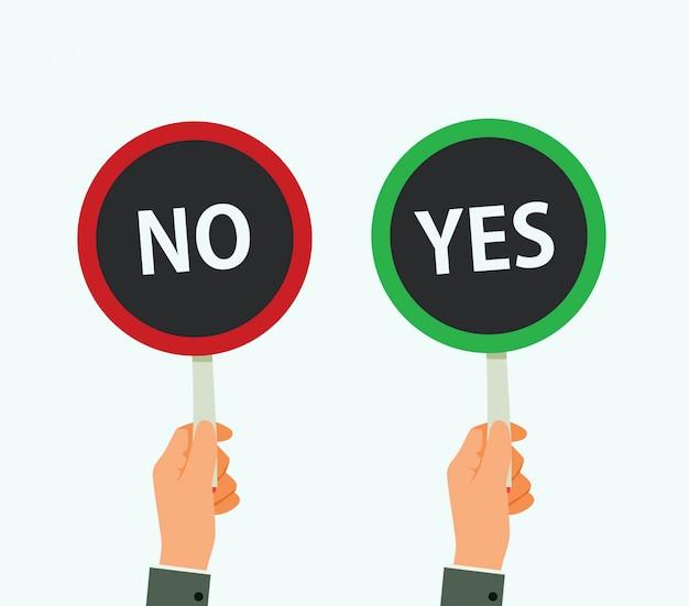 Handen houden uithangbord ja en geen illustratie