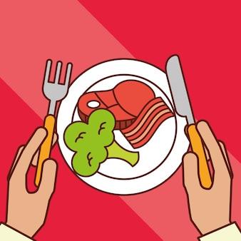 Handen houdt vork mes spek vlees broccoli diner op schotel