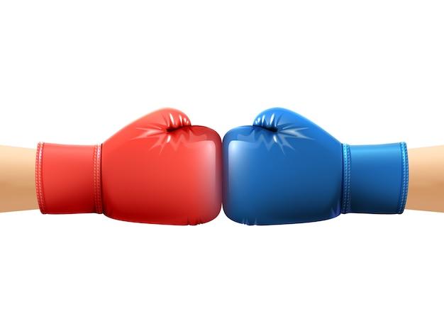 Handen in bokshandschoenen
