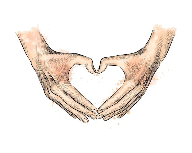 Handen in de vorm van een hart uit een scheutje aquarel, handgetekende schets. illustratie van verven