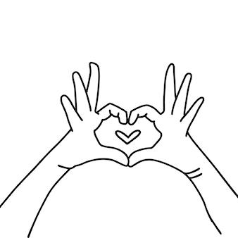 Handen in hartvorm hand getekende lineaire vectorillustratie