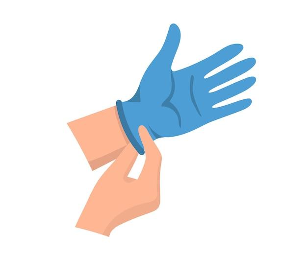 Handen in medische handschoenen. handen op rubberen handschoenen om infectie en bacteriën te voorkomen. latex beschermende handschoenen. vector illustratie platte ontwerp bescherming tegen virussen en bacteriën