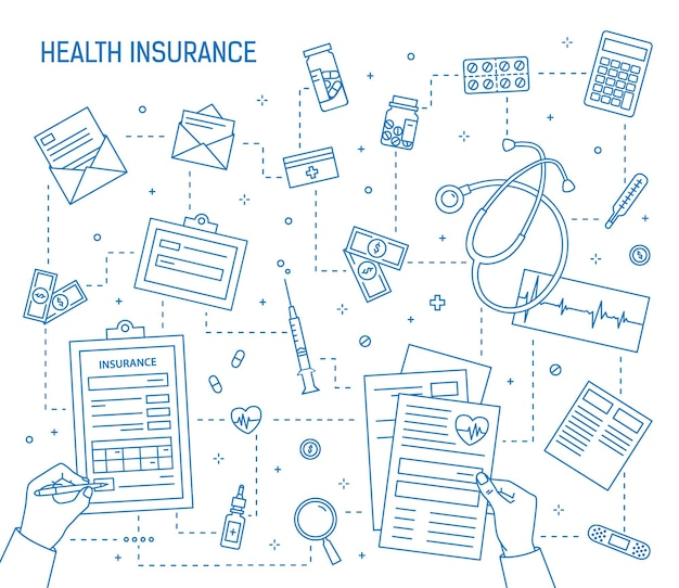 Handen invullen van document van ziektekostenverzekering omgeven door medicijnen, medische hulpmiddelen, geldrekeningen, munten getekend met contourlijnen