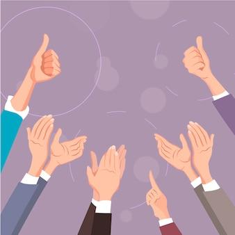 Handen klappen. duim omhoog en applaus.