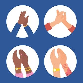Handen klappen symbool in cirkels