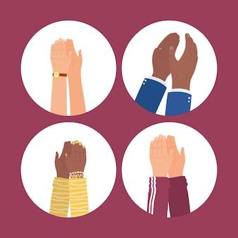 Handen klappende pictogramgroep in cirkels