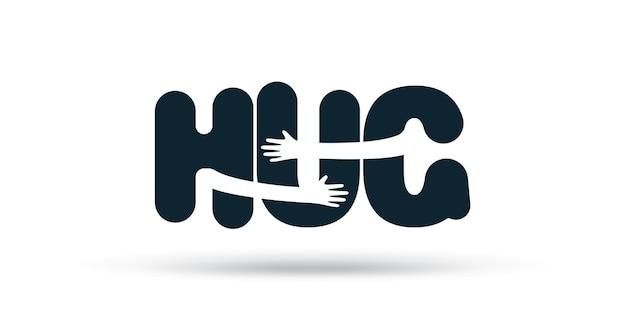 Handen knuffels woord hug illustratie