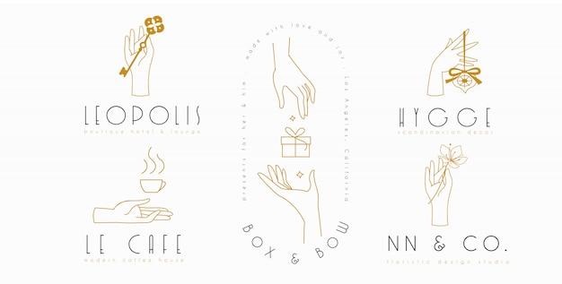 Handen logo ingesteld in minimalistische lijnstijl