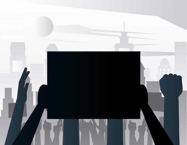 Handen mensen protesteren opheffing aanplakbiljet silhouetten op de stad