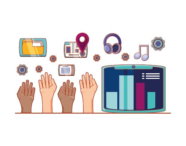 Handen met accessoires en sociale media set pictogrammen