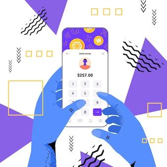 Handen met behulp van cryptocurrency-applicatie op smartphone virtueel geld portemonnee banktransactie digitale valuta concept