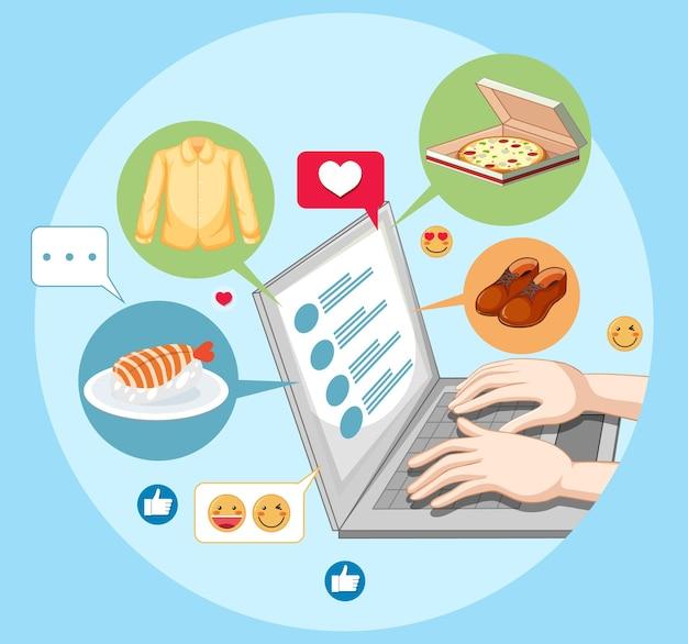 Handen met behulp van laptop met emoji-pictogram voor sociale media geïsoleerd op wit