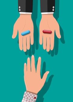 Handen met blauwe en rode capsulepillen. keuze of besluit metafoor. medicijnen ter beschikking. vectorillustratie in vlakke stijl