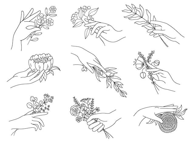 Handen met bloemen. overzicht vrouwelijke hand met boeketten, olijftak, pioenroos, weide bloem boho tatoeages. spa bloemen vector set. bloesembloem in vrouwelijke hand, botanische bloeiende illustratie