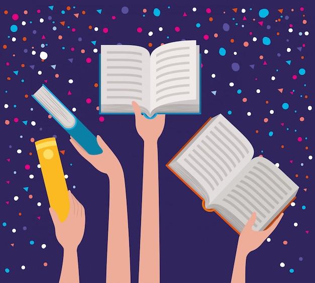 Handen met boeken