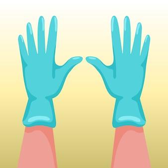 Handen met chirurgische handschoenen
