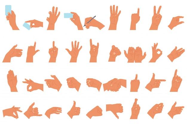 Handen met de verschillende vlakke pictogrammen van het gebarenbeeldverhaal geplaatst geïsoleerd wit
