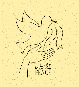Handen met duif wereldvrede
