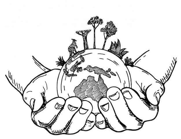 Handen met earth globe. aarde in menselijke handen op een witte achtergrond, schets stijl illustratie. dieren en planten van australië over de hele wereld, bescherming van zeldzame dieren.
