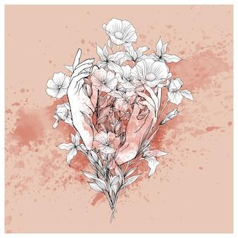 Handen met een emmer bloemen en een spetterborstel
