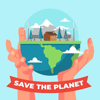Handen met een nieuwe schonere aarde