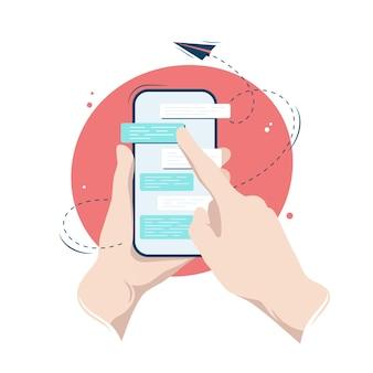 Handen met een smartphone met een messenger-dialoogvenster op het scherm, vectorillustratie in vlakke stijl