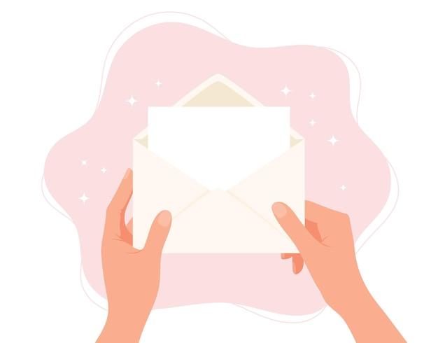 Handen met envelop blanco papier met kopie ruimte concept illustratie