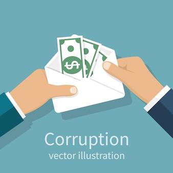 Handen met envelop met geld