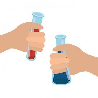 Handen met geïsoleerde laboratoriuminstrumenten