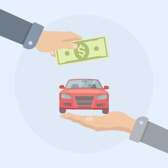 Handen met geld en autoillustratie