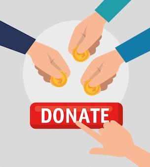 Handen met geld voor liefdadigheidsschenking