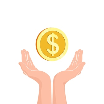 Handen met geldmuntstuk