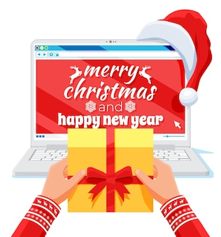 Handen met geschenkdoos en laptop is in kerstman hoed geïsoleerd. kerstcadeaus en geschenken. gelukkig nieuwjaar decoratie. vrolijk kerstfeest. nieuwjaar en kerstviering. platte vectorillustratie