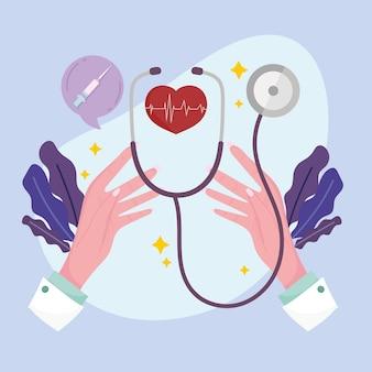 Handen met hart en stethoscoop